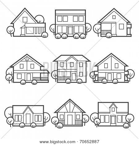 House icons set Suburb/country houses / linear flat style
