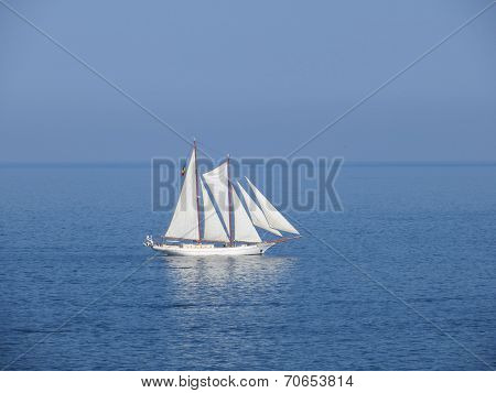 frigate on water