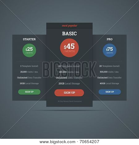 Pricing Table Template For Hosting Business.