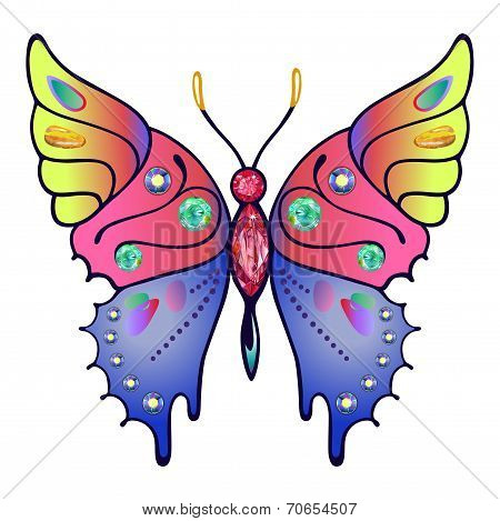 Strass Colored Outlined Butterfly