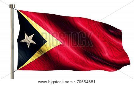 Timor Leste National Flag Isolated 3D White Background