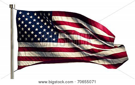Usa America National Flag Isolated 3D White Background