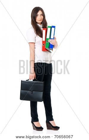 Business woman or teacher with briefcase and folders, isolated white background