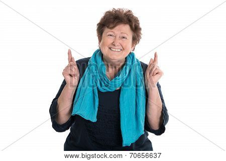 Portrait: Smiling Older Woman Isolated Over White.