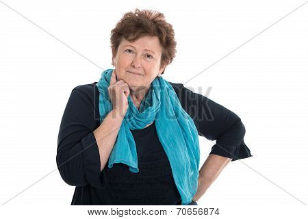 Portrait Of Senior Woman Isolated Woman Isolated Over White.