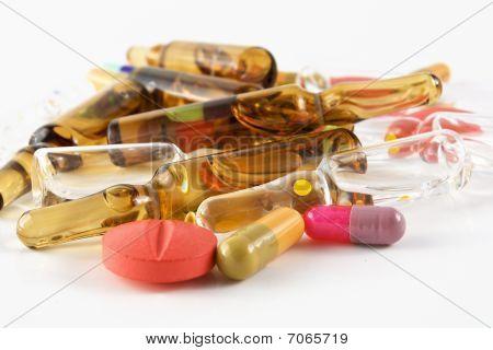 Drugs pills ampules vials and capsules