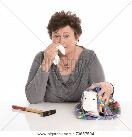 Isolated Senior Woman - Money Concept With A Pensioner.