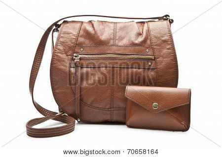 Woman's brown bag and wallet