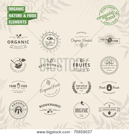 Set of badges and labels elements for organic nature and food