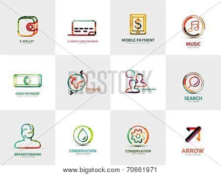 collection of 12 company logos, business concepts. Wallet credit card mobile payment music cash travel coworking search brainstorming gear water conservation arrow gear cog