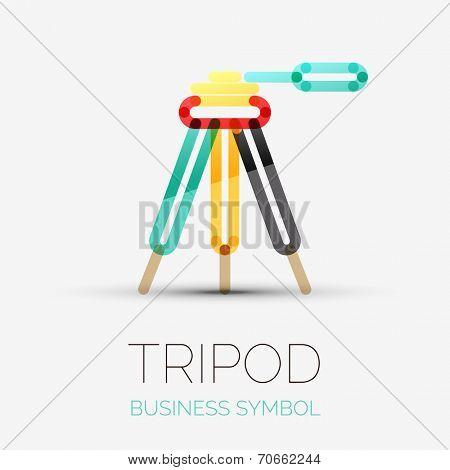 tripod icon company logo design, business symbol concept, minimal line design
