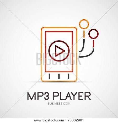 mp3 player company logo design, business symbol concept, minimal line style