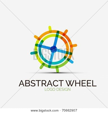 Icon, abstract wheel company logo design, business symbol concept, minimal line style