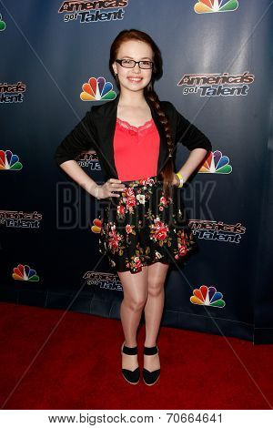 NEW YORK-AUG 20: Singer Mara Justine attends the backstage post-show red carpet for NBC's 'America's Got Talent' Season 9 at Radio City Music Hall on August 20, 2014 in New York City.