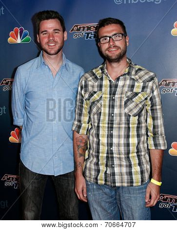 NEW YORK-AUG 20: Magicians David Blatter (L) and Leeman Parker attend the post-show red carpet for NBC's 'America's Got Talent' Season 9 at Radio City Music Hall on August 20, 2014 in New York City.