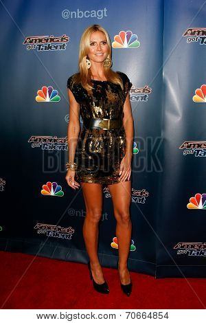 NEW YORK-AUG 20: Model Heidi Klum attends the backstage post-show red carpet for NBC's 'America's Got Talent' Season 9 at Radio City Music Hall on August 20, 2014 in New York City.