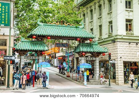 A Gateway Arch (dragon Gate) On Grant Avenue At Bush Street In Chinatown