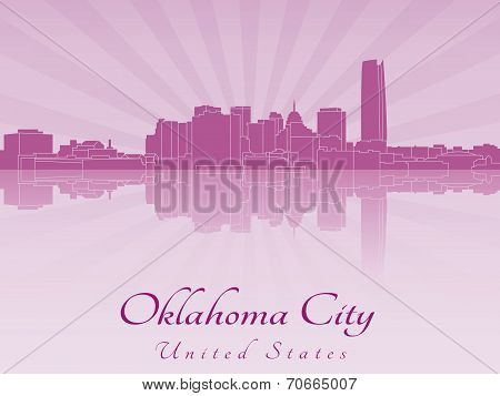 Oklahoma City Skyline In Purple Radiant Orchid