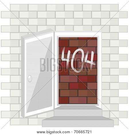 Error 404 Concept With Blocked Door