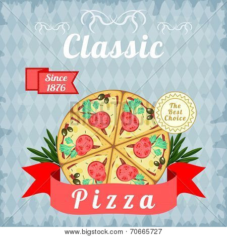 Retro Poster With Classic Pizza