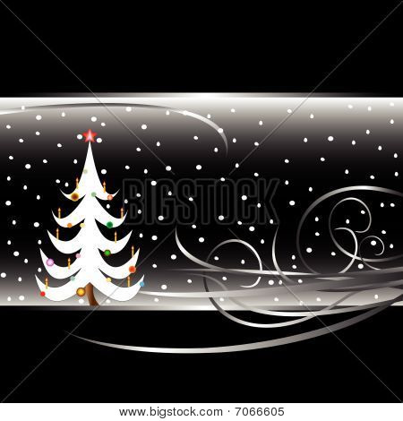 Black And White Christmas Tree Card