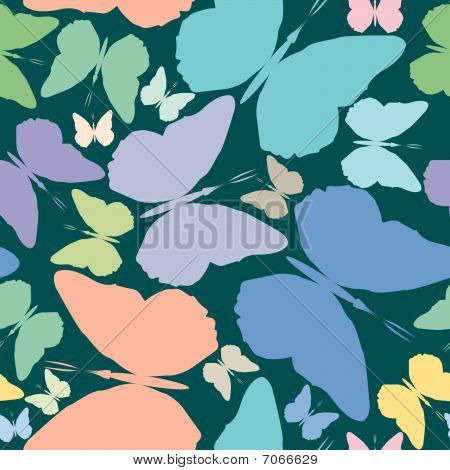 Butterflies Seamless Pattern Over Blue