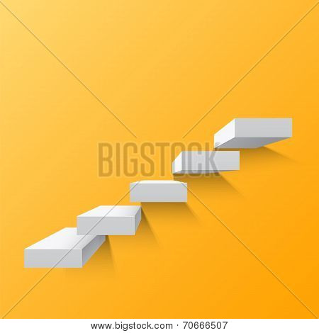 Yellow abstract background with white stairs