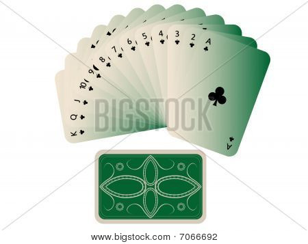 Clubs Cards Fan With Deck Isolated On White