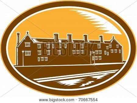 Old Building Cambridge Woodcut Retro