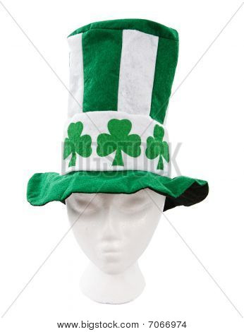 Green And White Striped Irish Hat With Clovers And A Clipping Path