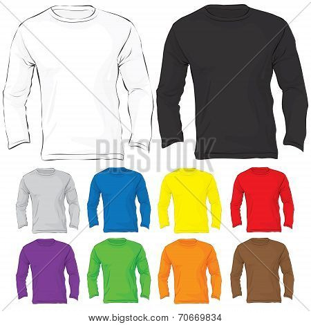 Men's Long Sleeved T-shirt Template In Many Color