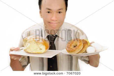 healthy man big breakfast