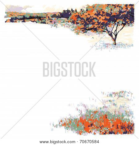 Autumn landscape - Tree and Meadow