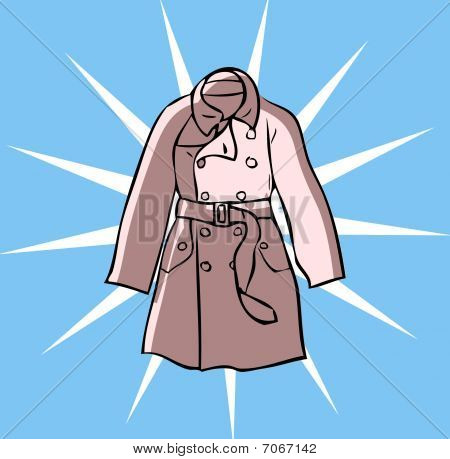 Fashion Trench Clothes Coat Glamour Tattoo Design