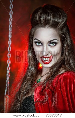Beautiful Halloween Vampire Woman