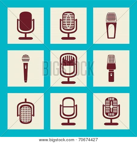 Collection Of Microphone Icons - Illustration