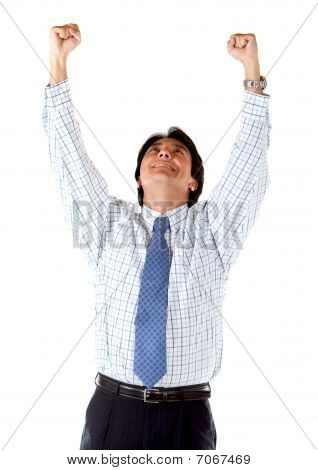 Business Man With Arms Up
