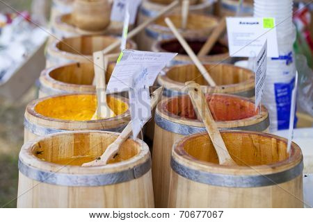 Wooden Barrel with honey, close up