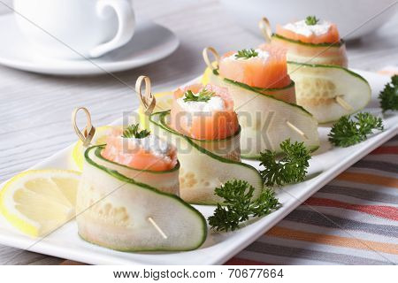 Cucumber Rolls With Salmon, Cream Cheese Closeup Horizontal
