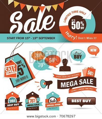 Set of sale promotion design elements