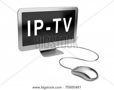 Monitor With  Text - Iptv - And Mouse