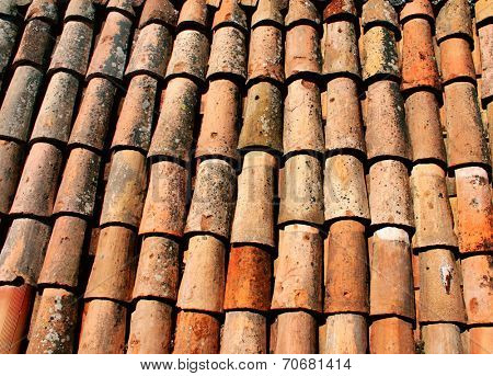Texture of the old clay tiles
