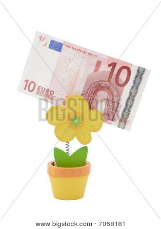 10 Euro Banknote In A Holder In The Form Of Flower Pot