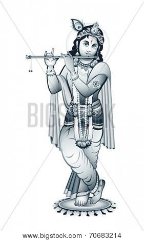 Hindu young god Krishna playing on flute