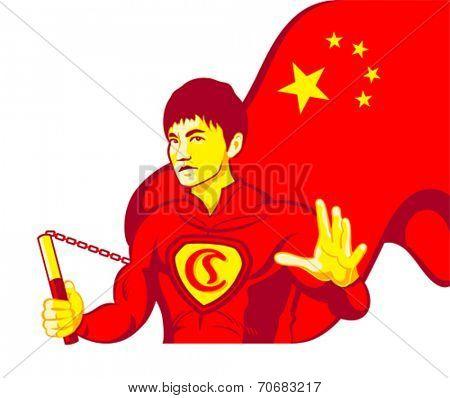 Mighty kung-fu Chinese superhero with nunchaku