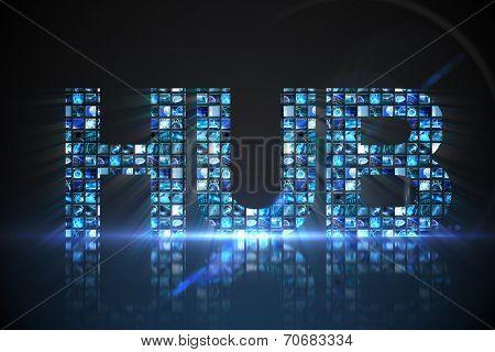 Digitally generated Hub made of digital screens in blue