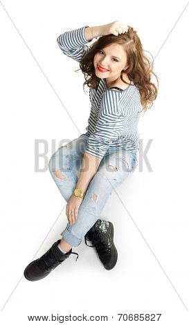 Girl in a striped vest