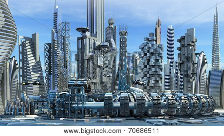 Science fiction skyline architecture