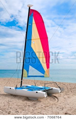Colorful Catamaran In The Beach