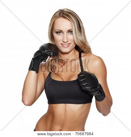 Blonde Woman In Gloves Punch